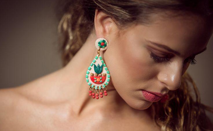 Bohemian chic, mint coral drop chandelier earrings