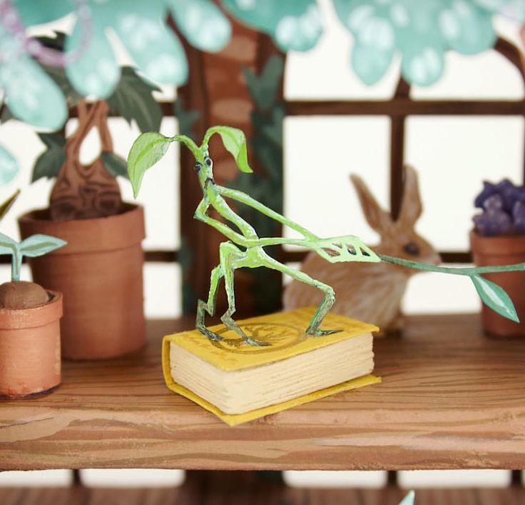 Bowtruckle detail  . . . . #herbology #greenhouse #bowtruckle #plants #harrypotter #hogwarts #hufflepuff #arttrade #artswap #professorsprout #gouache #painting #art #3D #3dmodel #3dillustration #papercut #paperart #papermodel #papercraft #paperartist #illustrator #illustration #cute #fantasticbeasts #miniatures #miniatureart #mandrake #book