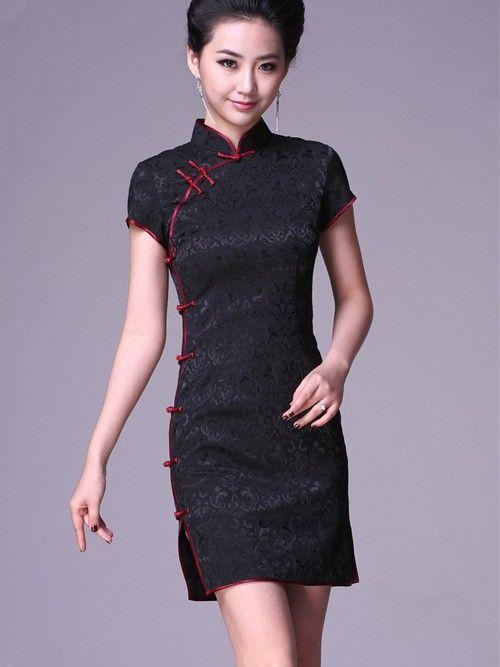 Black Short Cheongsam / Qipao / Chinese Party Dress