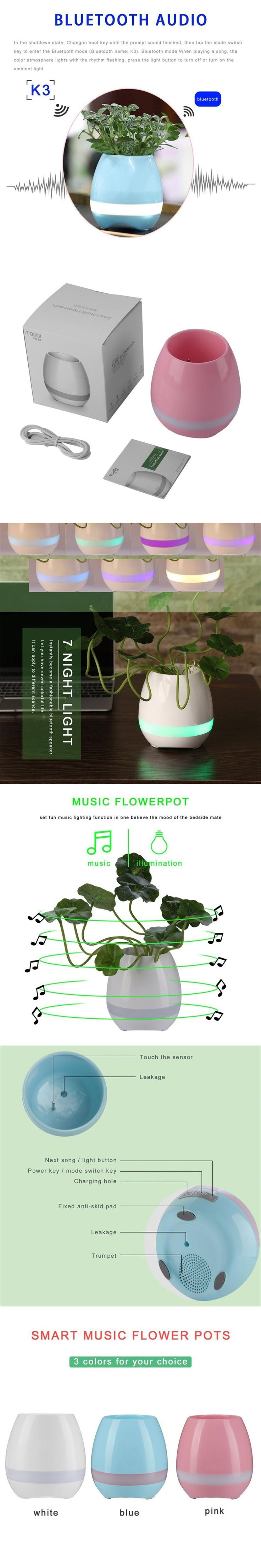 Plastic Smart  Music Flower Pots Bluetooth Speaker Decoration Planter Night Light Touch Sensors Stress Relief Toy for Child Gift