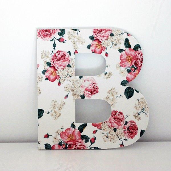 Letras decorativas letra b con frontal impreso con imagen de flores letra de 1 cm de grosor - Letras de madera decorativas ...