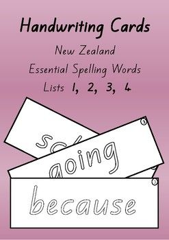 Great for a literacy centre activity  spelling and handwriting at the same time!Cut and laminate the cards.  Students write and wipe.The font used is the 'New Zealand Basic Script'. The letter shapes are identical to those recommended in the NZ Ministry of Education Handbook - Teaching Handwriting.The font is in outline style.4 cards per A4 page.