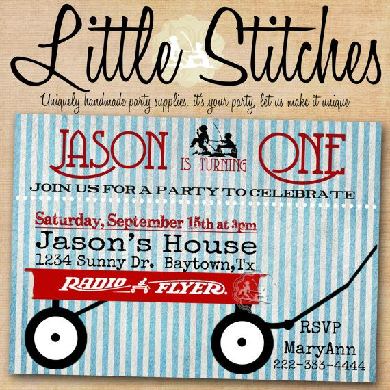 Little Red Wagon / Radio Flyer Birthday Party or Baby shower  Invitation