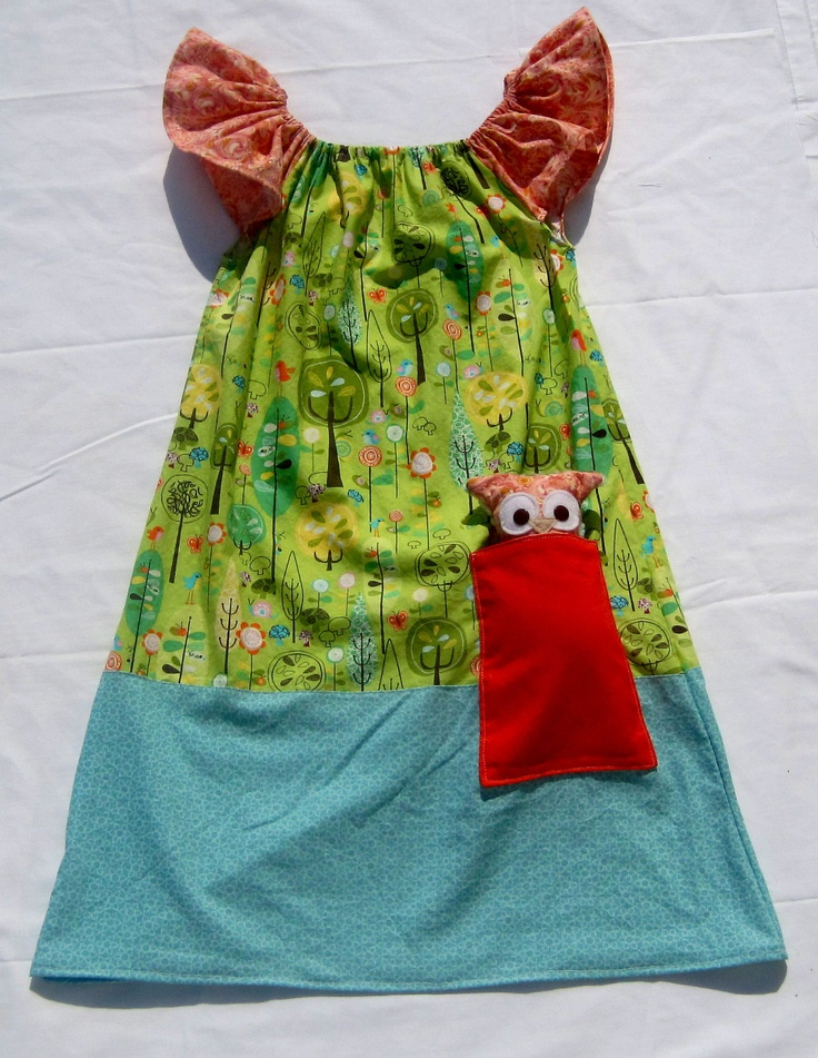 Woodland Pocket Dress with Owl Lovey.: Woodland Pockets, Pockets Dresses, Owl Lovey, Diy Owl With Pockets