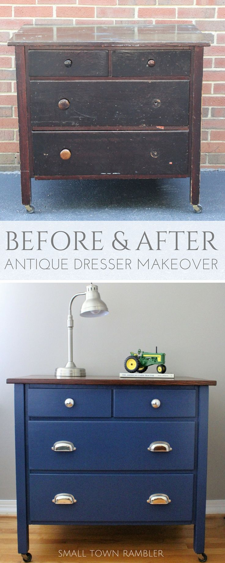 Antique Dresser Makeover  Painted Navy Blue With Wood Stained Top. Color:  Champion Cobalt