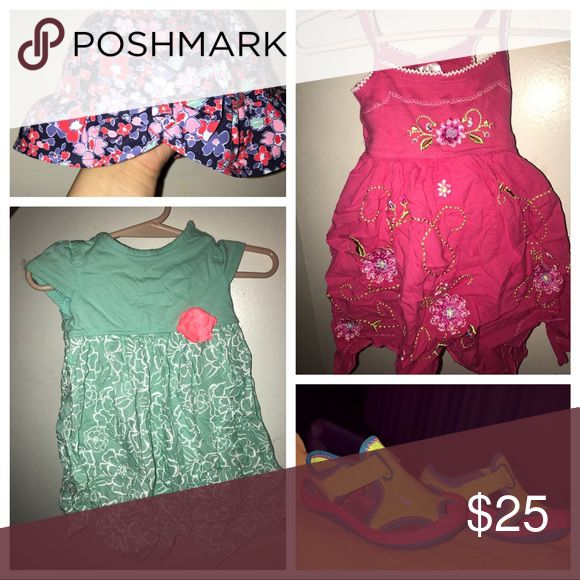 Fun in the Sun! Toddlers 12-18Mos Bundle! These were taken care of! The Bundle is a romper, a flowy dress, Nike water shoes, & a adorable hat! Make me an offer you will love them! Nike Matching Sets