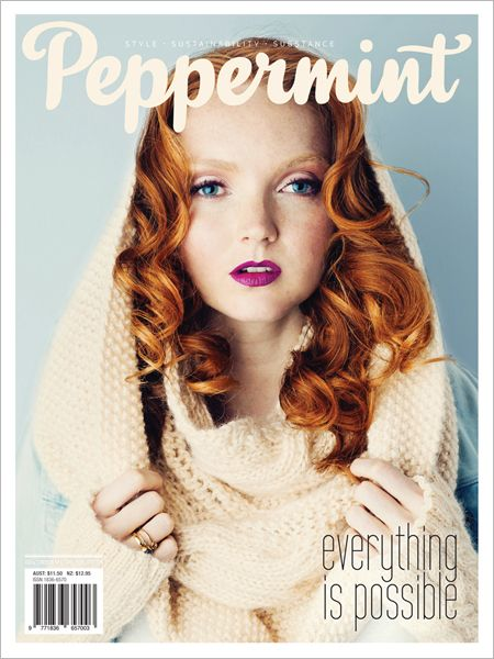 The Spirit of Giving with Lily Cole in Peppermint magazine issue.