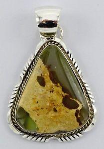 Navajo-Handmade-Sterling-Silver-Royston-Ribbon-Turquoise-Pendant-Alfred-Martinez