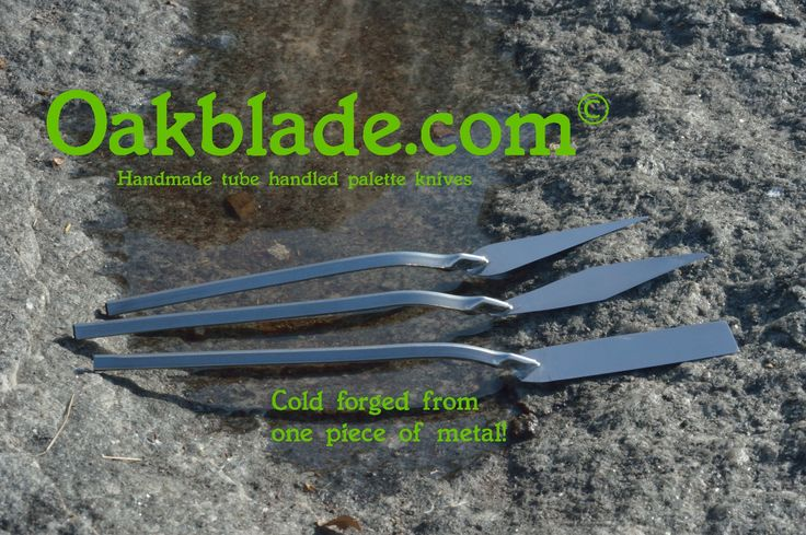 Oakblade handmade painters palette knives cold forged from one piece of stainless steel in Canada. OAKBLADE.COM
