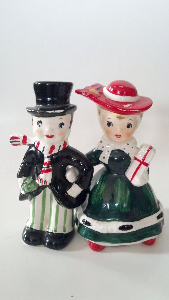 Vintage LEFTON Shopper Christmas Girl & Man Figurine by CZamore, $42.00