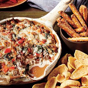 Sausage, Bean and Spinach Dip. This dip is absolutely amazing! Every time I take it somewhere, I take copies of the recipe with me. I make it in a black iron skillet. Yummy!