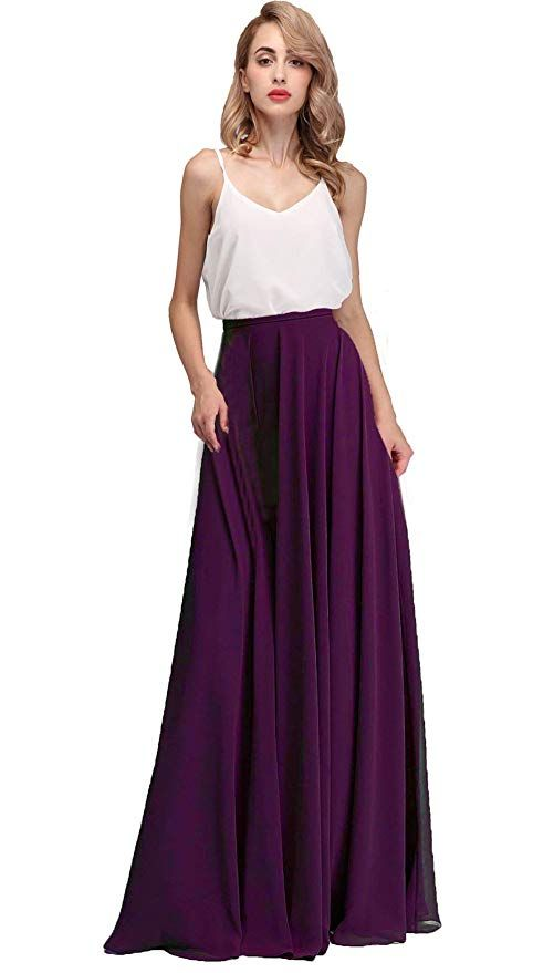 58af619e7a5 Honey Qiao Chiffon Bridesmaid Dresses High Waist Long Woman Maxi Skirt at  Amazon Women s Clothing store