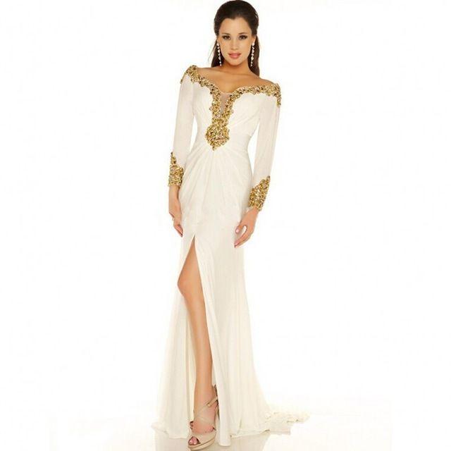2015 hot arabische stijl witte chiffon lange mouwen trompet mermaid avondjurken prom gown dubai kaftan jurken voor moslim vrouwen