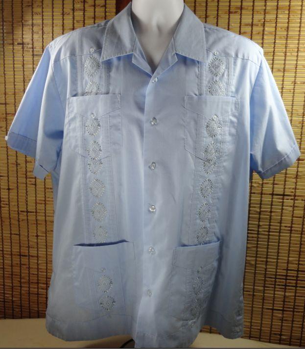 mens mexican wedding cigar rockabilly shirt l lg embroidered baby blue havanera