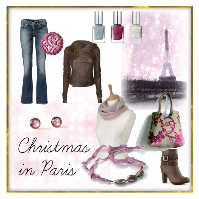 """Christmas in Paris"" by foldi-knit ❤ liked on Polyvore featuring mode, Rick Owens, Silver Jeans Co., Pink & Pepper, pink, flower, casual en mauve"