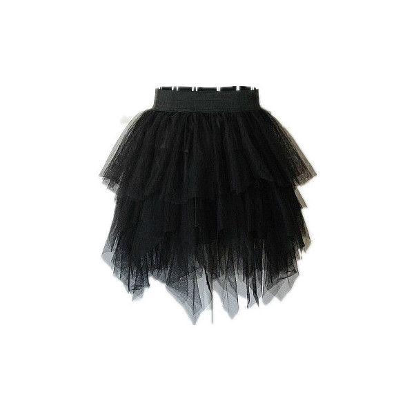 Black Lace Asymmetrical Ball Gown Skirt
