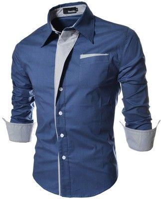 TheLees Mens Casual manga larga a rayas parcheado Equipada las camisas de vestir