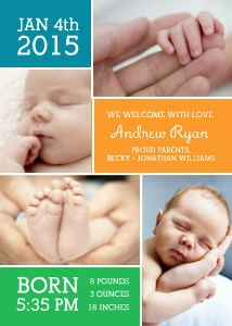 Mixbook Baby Collage Photo Birth Announcements