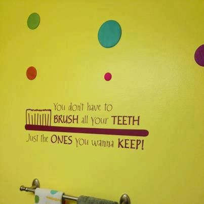 Great reminder for the little ones! #vinyl #decal #decor #bathroom #quote #tooth #toothbrush #teeth #dentist #kid #brush