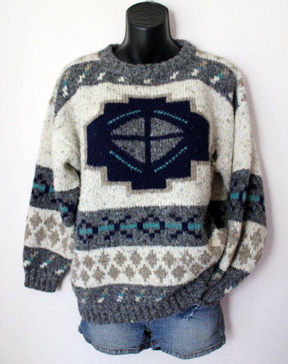 Vtg Knit Grandpa Lodge Sweater Native aztec Soft by 10thAvenueEast, $31.99