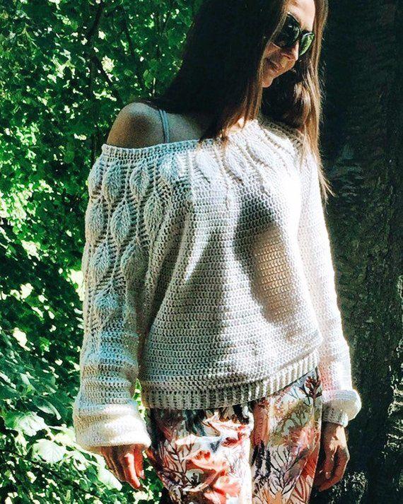 9ded998aaea4 PDF pattern Crochet Sweater LEAVES