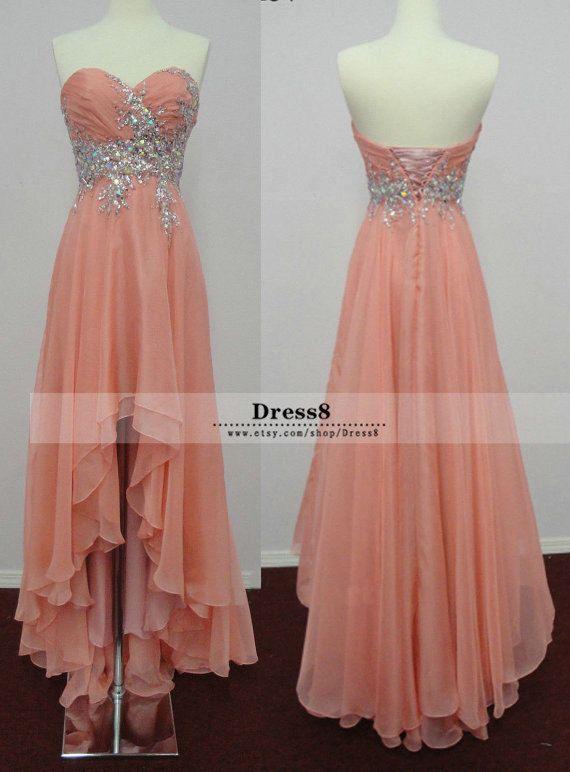 2014 Sweetheart Peach High-low Prom Dress Chiffon A-line Bridal Gown ...