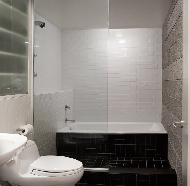 Modern Bathroom Tiles Pinterest : Modern shower tub black grey tile bathroom design