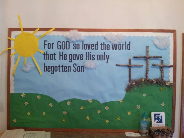 Easter Bulletin Board using real sticks for the crosses