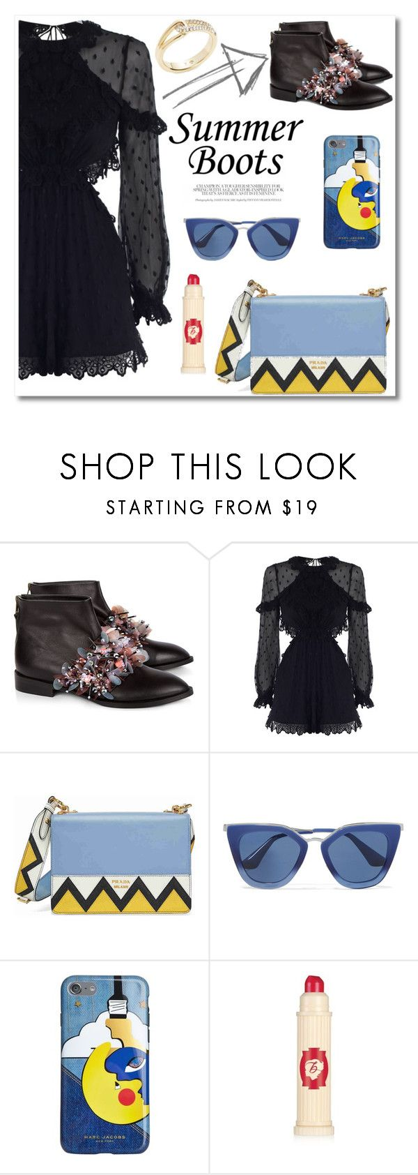 """Summer Boots"" by vkmd ❤ liked on Polyvore featuring Anouki, Zimmermann, Prada, Marc Jacobs, Benefit, Kate Spade and summerbooties"