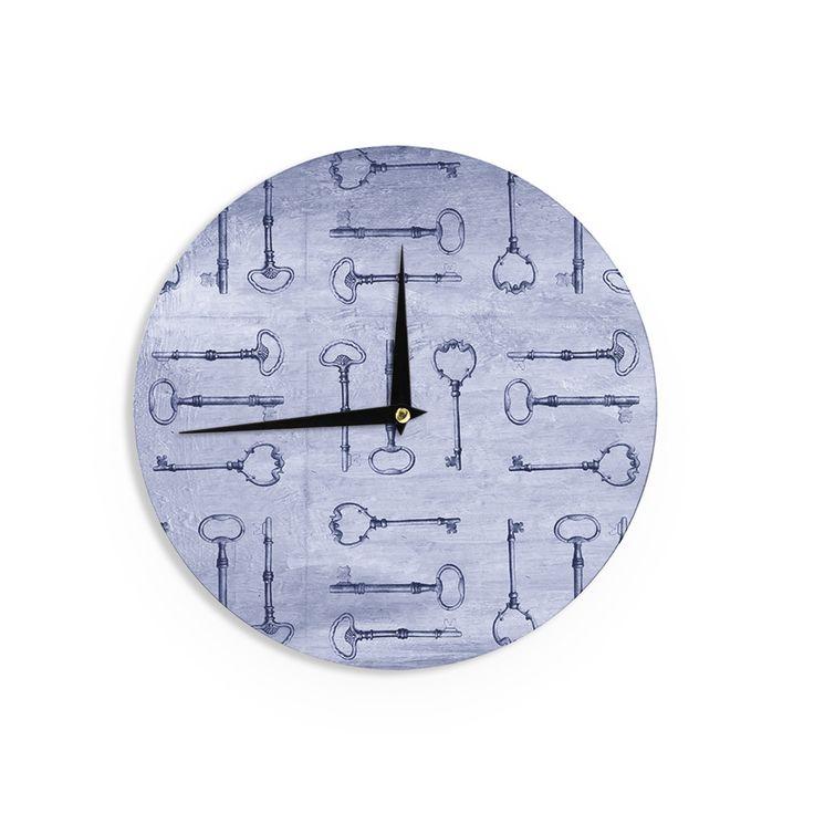 "Marianna Tankelevich ""Secret Keys Blue"" Aqua Navy Wall Clock"