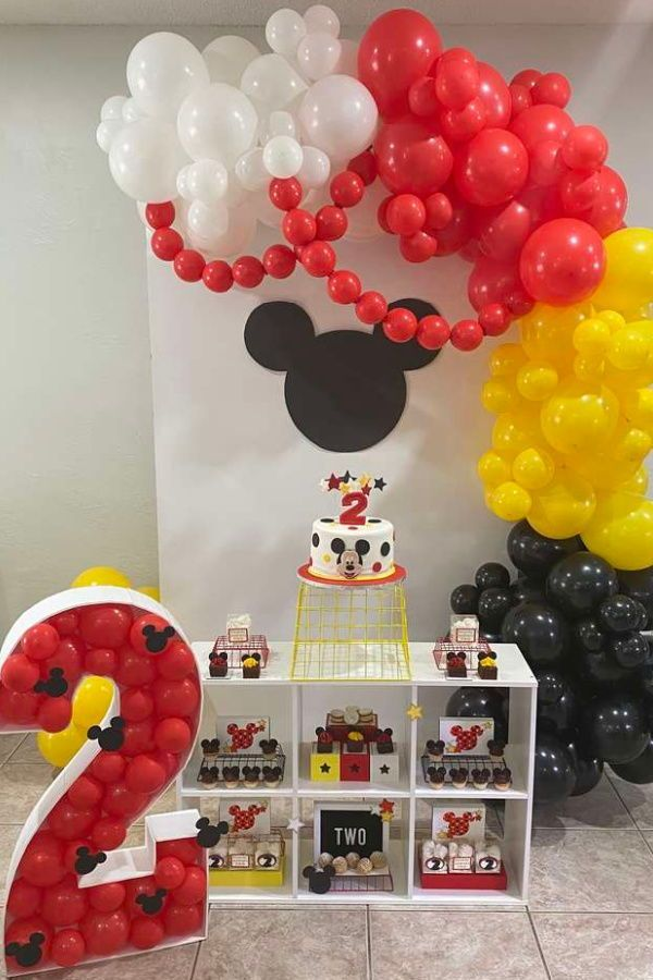 Mickey Mouse Stars Circles Birthday Party Ideas Photo 2 Of 21 Minnie Mouse Theme Party Mickey Mouse Birthday Mickey Mouse Birthday Decorations