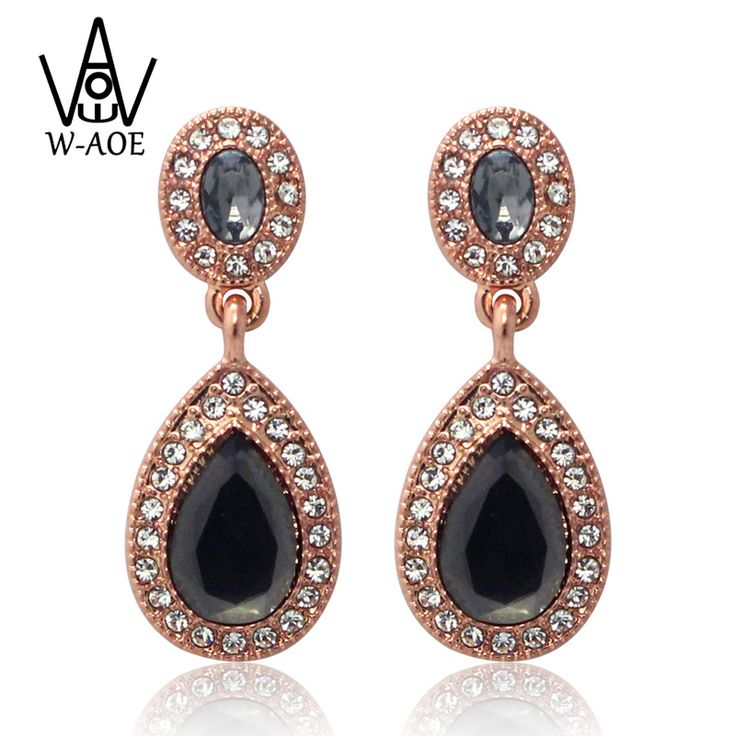 >> Click to Buy << 2017 New Design Fashion Rose Gold Color Luxury Black Crystal Stud Earrings for Women Vintage Zircon Earrings Wedding Jewelry #Affiliate