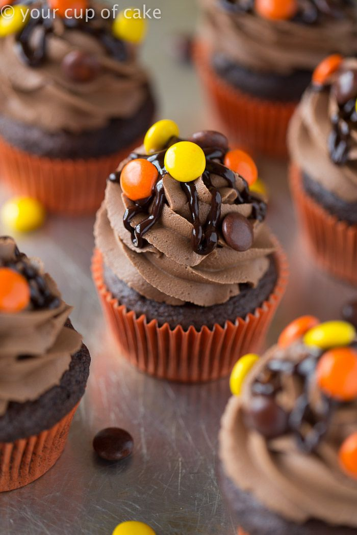 Double Chocolate Reese's Pieces Cupcakes
