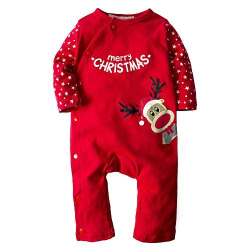Big Elephant Baby Boys 1 Piece Christmas Snap-Up Long Sleeve Pajama Romper H21 12-18 Months Red