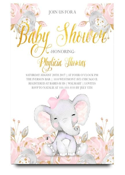 Elephant Baby Shower Invitation With Flowers Pink Vintage