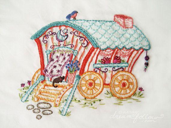Gypsy wagon embroidery pattern boho decor pdf download