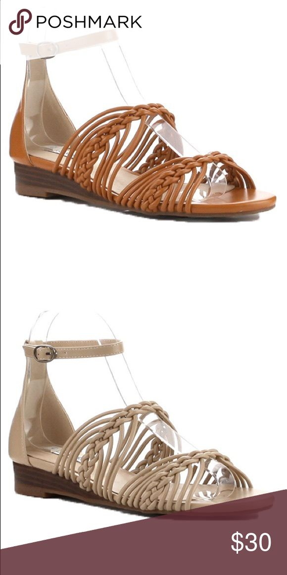 Ladies high top ankle buckle strap flat sandal Very nice looking ladies high top ankle strap sandals, open toes, unique straps details, man made materials, this listing is for Camel color and the Nude color is available in different listing. Brand new in box. True to size. NO TRADES SHOEROOM21 boutique Shoes Flats & Loafers