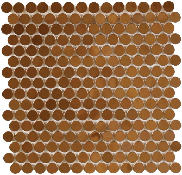 Copper penny rounds for floor with medium grey grout for Copper tile pennies