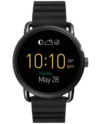 Fossil Women's Digital Q Wander Black Silicone Strap Smart Watch 45mm FTW2103