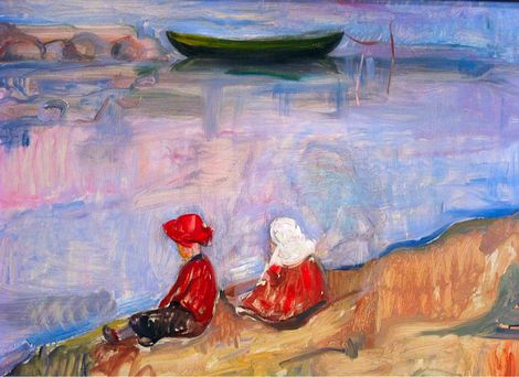 Edvard Munch, Two Children On the Beach, 1904 on ArtStack #edvard-munch #art
