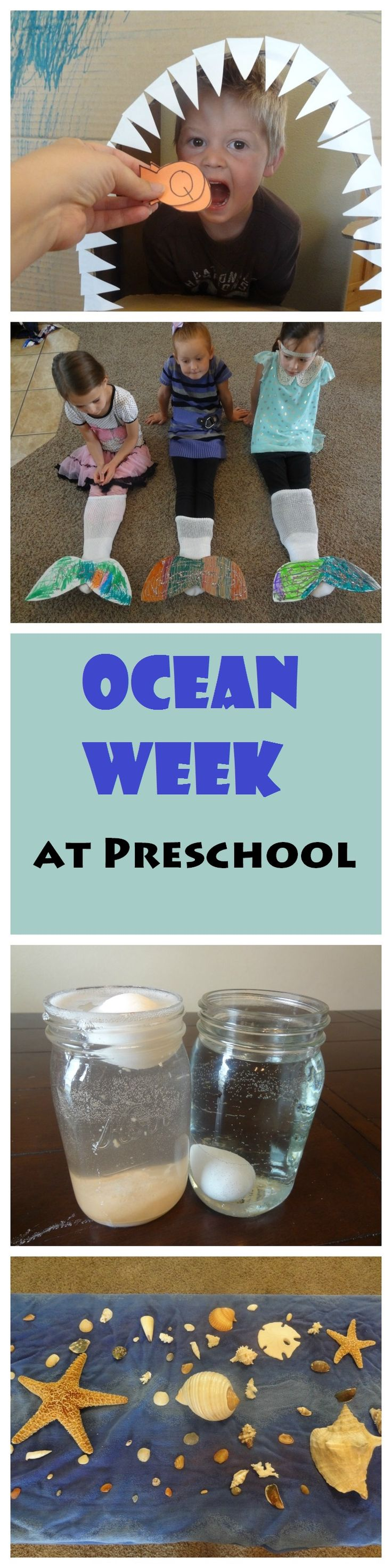 Ocean Week at Preschool. Mermaid Tails, Shark Letter Review, Ocean in a Bottle, Salt Water Experiment, and more.