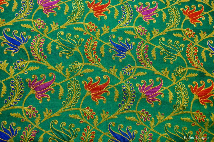 Unique Green & Gold Chanderi silk Jacquard fabric sold by the yard by VedahDesigns on Etsy