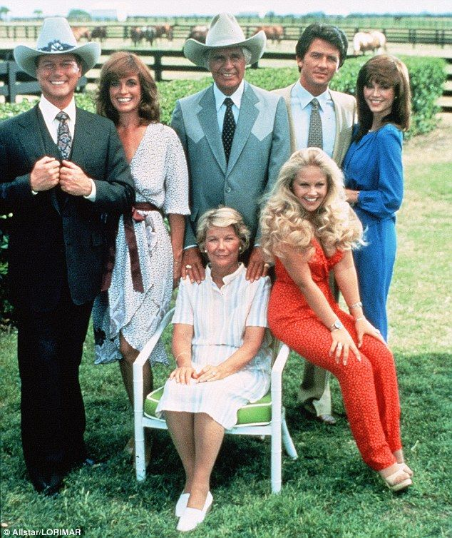 Old school: Hagman, Gray and Duffy with Barbara Bel Geddes as Miss Ellie, Jim Davis as Jock, Victoria Principal as Pam and Charlene Tilton as Lucy, who also appears in the reboot