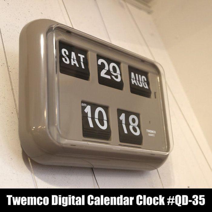 """【送料無料】TwemcoDigitalCalendarClock#QD-35""""Gray""""トゥエンコデジタルカレンダークロックデザイン掛け時計掛時計置き時計クロックアメリカフリップパタパタ壁掛け時計グレーおしゃれアンティークギフトプレゼント10P23Aug15"""