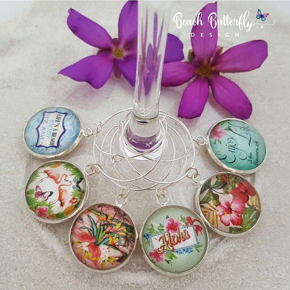 Hawaiian Wine Glass Charms-Tropical Wine Glass