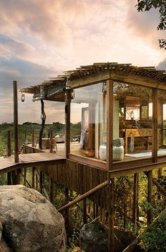 2. Sleep Above Africa's Wildlife (Skukuza, South Africa)Experience the wildlife of Africa from the safety of your own room. And, I don't mean sitting behind a television. You are open to the elements yet still have the amenities of the resort. After the sun falls and your lanterns are lit ...