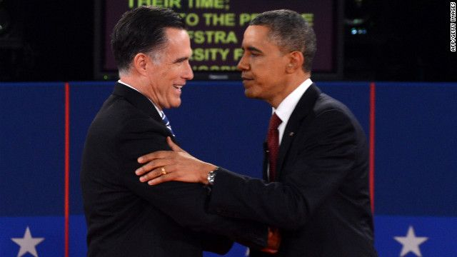108 Republican presidential candidate Mitt Romney and U.S. President Barack Obama shake hands following the second presidential debate at Hofstra University in Hempstead, New York, on Tuesday, October 16, moderated by CNN's Candy Crowley.  October 16, 2012