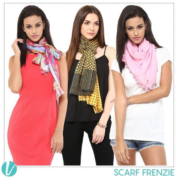 Scarfs always make an essential part of your wardrobe. Shop them by Product Codes: (Left - 244837, Centre - 244867, Right - 244845). #scarfs #stole #printedsacrfs #shingora #premium #vilara