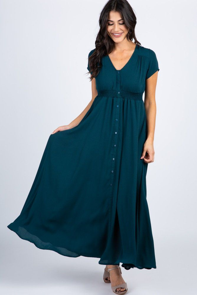e1d1f917df66e Green Button Front Smocked Waist Maternity Maxi Dress in 2019 | when ...