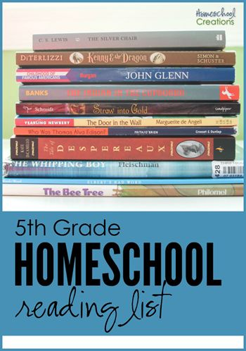 5th grade homeschool reading list - book choices for the year from Homeschool Creations